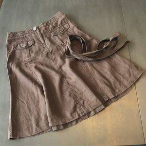 J. Crew brown, 100% linen skirt. Size 4